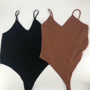 BP. Bodysuit Brown Black Lot of 2 1X New